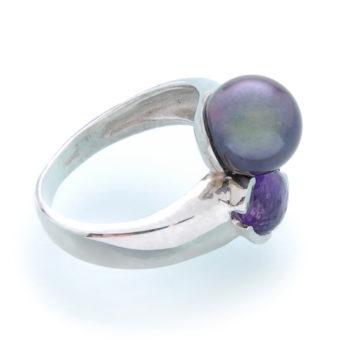 кольцо с аметистом и жемчугом