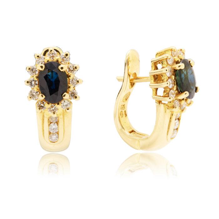 Серьги золотые с сапфиром и бриллиантами