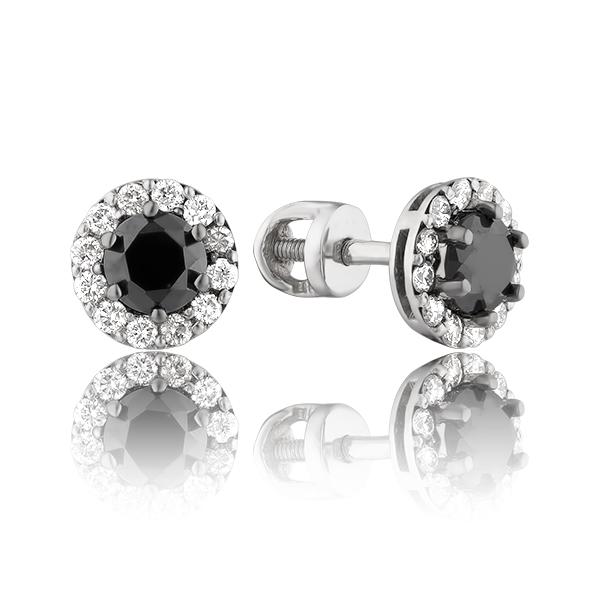 Золотые серьги с черными бриллиантами